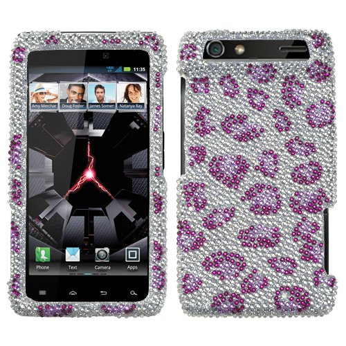 Leopard Skin/purple Diamante Protector Faceplate Cover For MOTOROLA XT912(Droid Razr) Verizon