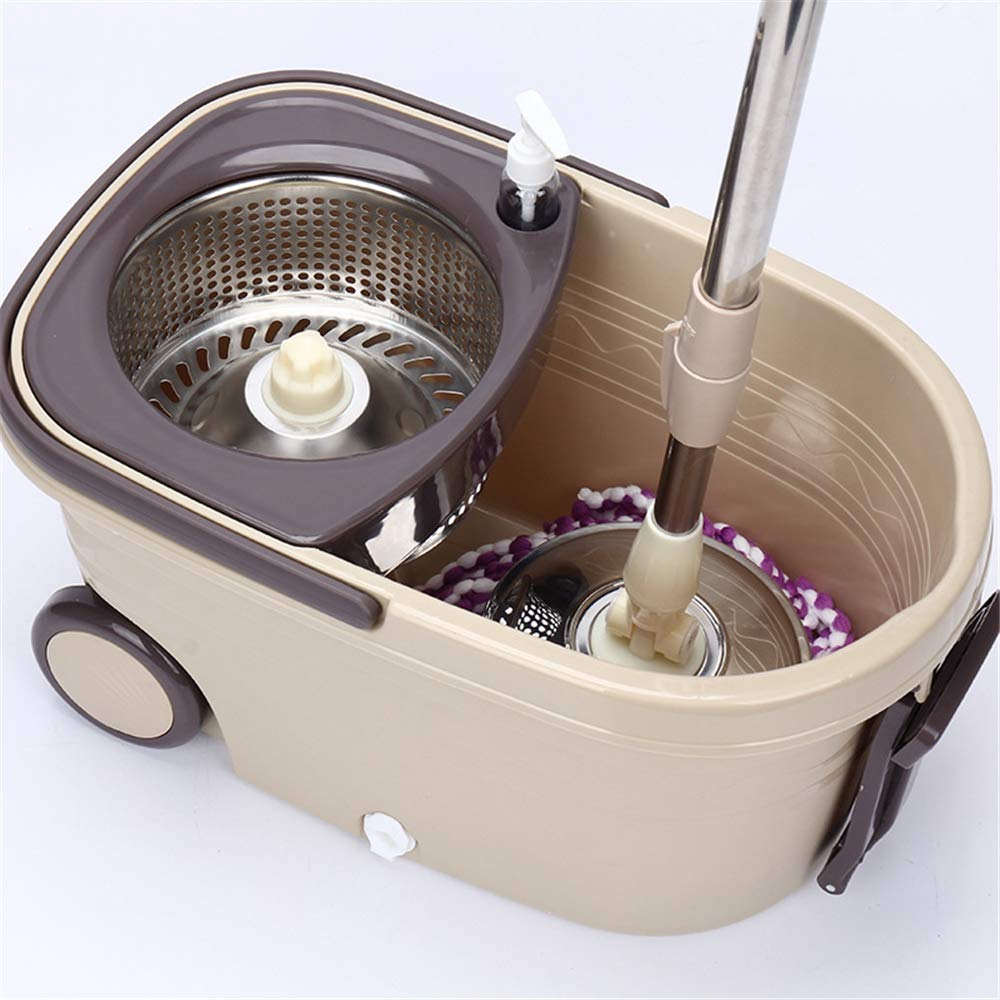 Spin Mop Bucket System - Stainless Steel 360 Spin Wringer Dry Basket & Telescopic Handle Pole, Spinning Mop Bucket Kit, 2 Microfiber Heads