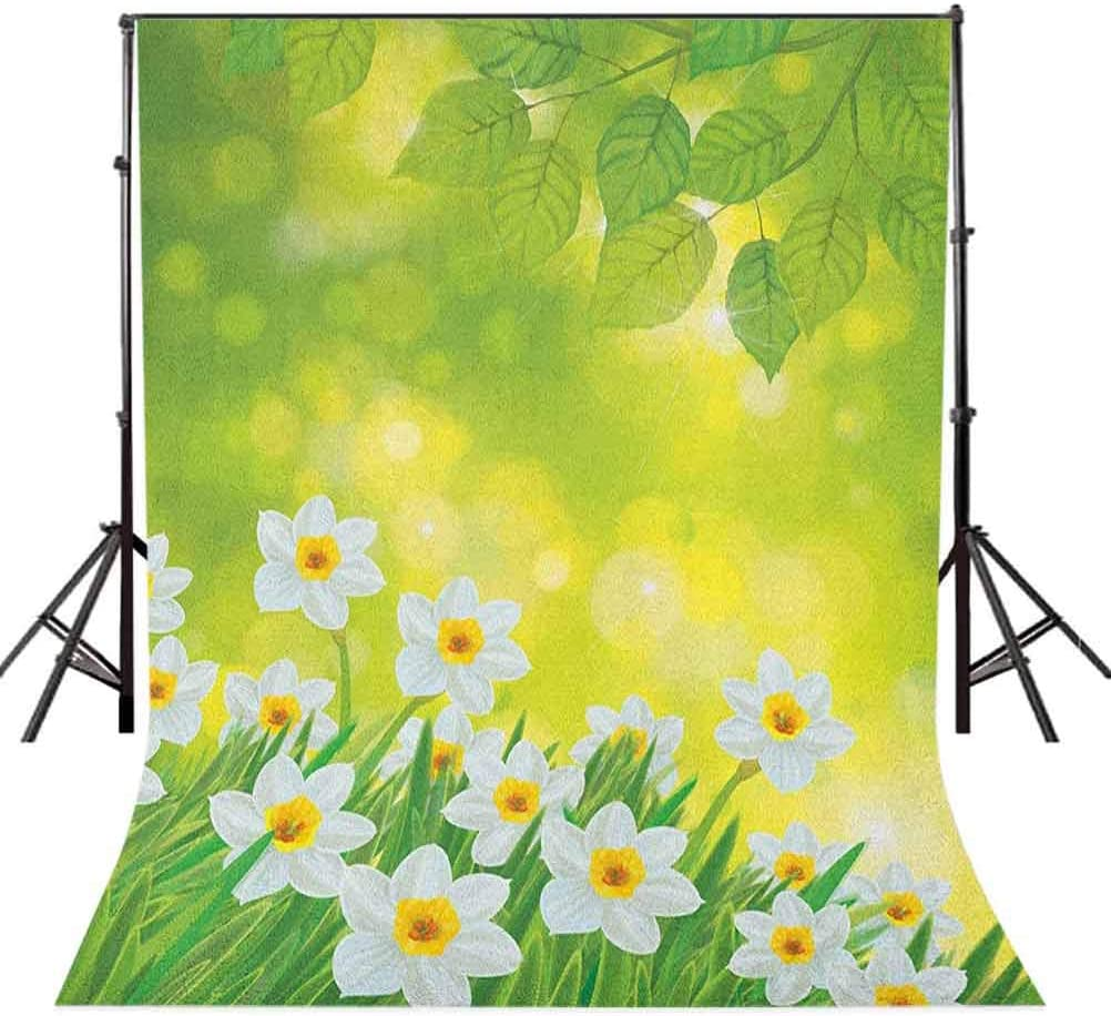 7x10 FT Colorful Vinyl Photography Backdrop,Abstract Wildflower Arrangement with Ornamental Dandelion and Dots Background Background for Baby Birthday Party Wedding Studio Props Photography