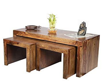 Ikiriya Solid Wood Coffee Table Center Table With 2 Stool Ctw05 Amazon In Home Kitchen