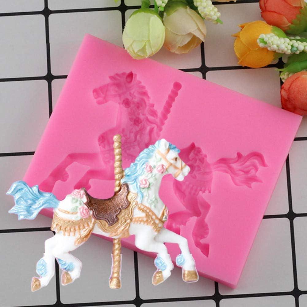 UNIYA El Caballo del carrusel 3D moldes de Silicona Torta dela Fiesta de cumpleaños de la Torta Que adorna la Pasta de azúcar del Molde del Caramelo de ChocolateMoldes