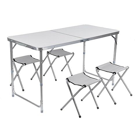 Mesa de camping plegable Set con 4 sillas plegables aluminio ...
