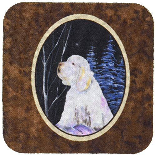 "Caroline's Treasures SS8346FC Clumber Spaniel Foam Coasters (Set of 4), 3.5"" H x 3.5"" W, Multicolor"