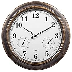 Outdoor Clocks,Ing-Never Stop Large Outdoor Clock Waterproof with Temperature and Humidity Silent Movement - 18inch