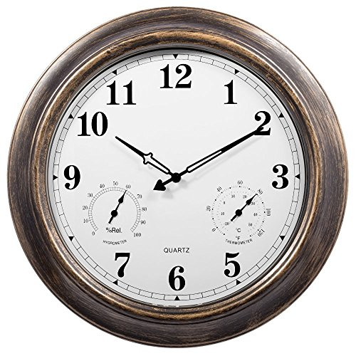 White Outdoor Clock (Outdoor Clocks,Ing-Never Stop Large Outdoor Clock Waterproof with Temperature and Humidity Silent Movement - 18inch)