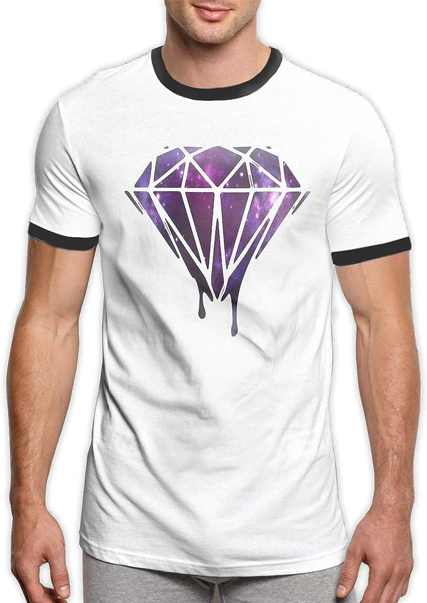 Camiseta de Manga Corta para Hombre, diseño de Galaxia y Diamantes, Cuello Redondo, Color Negro - Negro - Small: Amazon.es: Ropa y accesorios