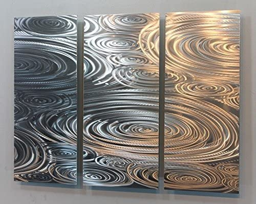Statements2000 All Natural Etched Silver Modern Metal Wall Accent Painting – Abstract Contemporary Hand-Made Home Office Wall Decor Sculpture Art – Liquid Sunshine by Jon Allen – 38 x 24