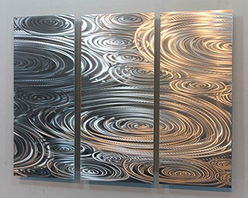 "Statements2000 All Natural Etched Silver Modern Metal Wall Accent Painting - Abstract Contemporary Hand-Made Home Office Wall Decor Sculpture Art - Liquid Sunshine by Jon Allen - 38"" x 24"""
