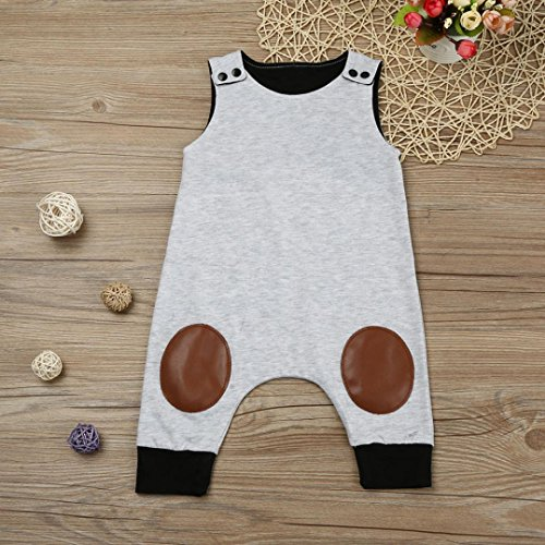 GBSELL Newborn Infant Baby Boy Girl Summer Clothes Flash Sleeveless Jumpsuit Romper Outfits (Gray, 6-12 Month)