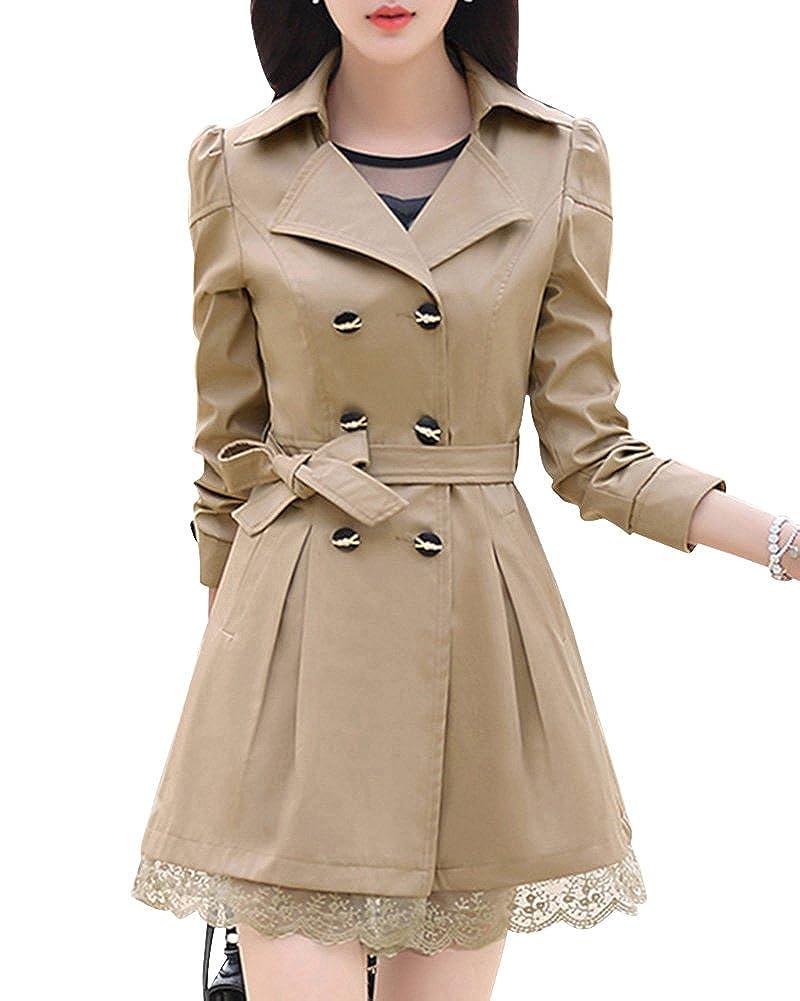 DianShao Donna Doppiopetto Bowknot Lungo Trench Coat Con La Cintura ... 8473a4bc2ab