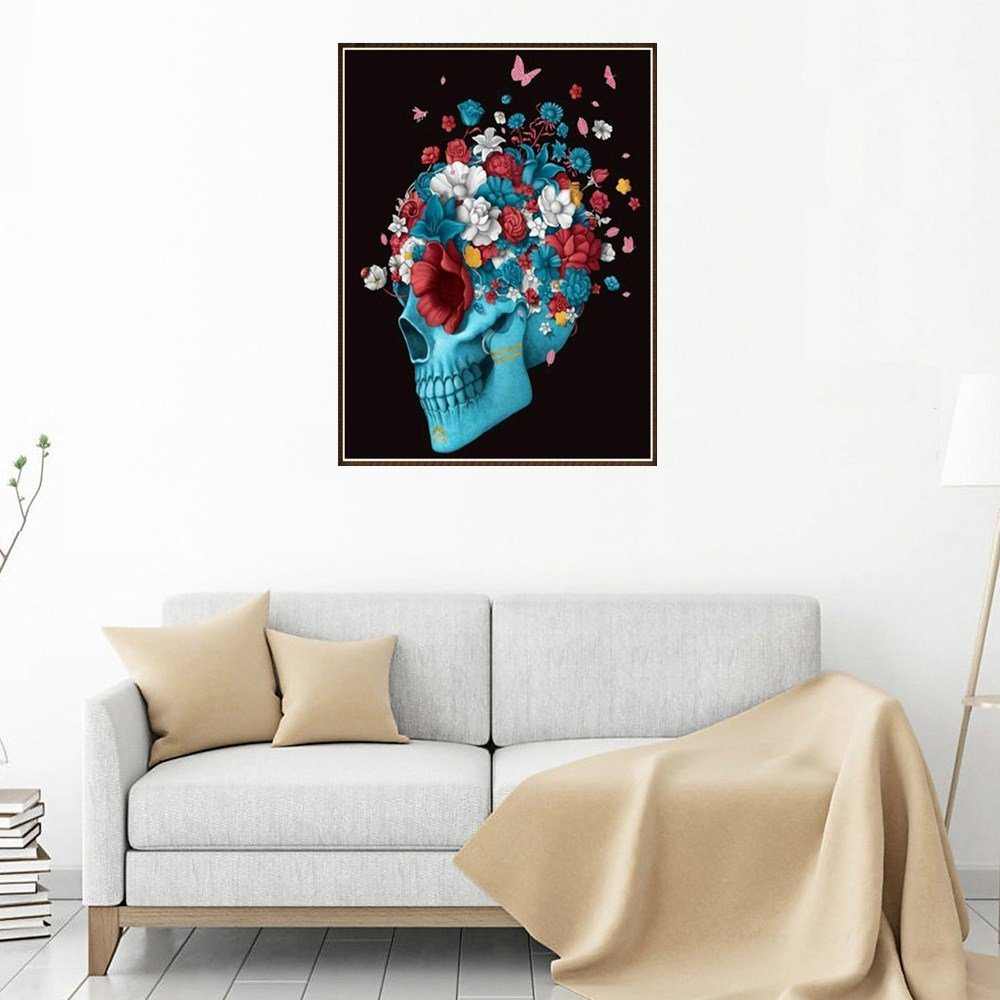 Catnew Gothic Skull Butterflies 5D DIY Resin Diamond Painting by Number Kits, Crystal Rhinestone Diamond Embroidery Paintings Pictures Arts Craft Home Wall Decor Gift (Blue) Catnew-painting