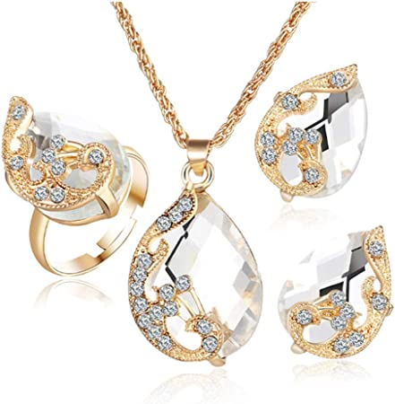 Valentines Gold Crystal Heart Necklace Earrings Ring Bridal Wedding Jewelry Set