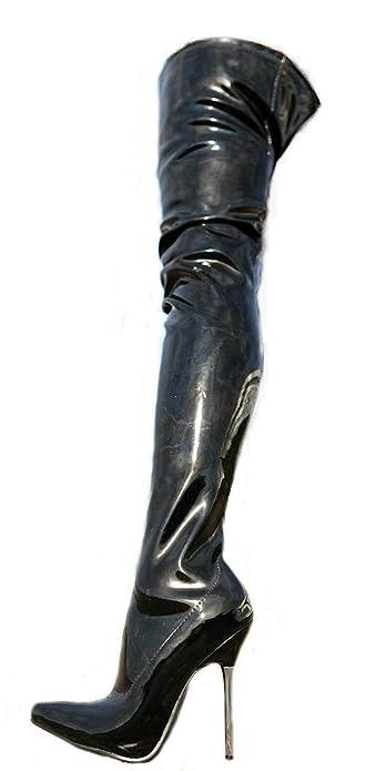 5cb3848d40b Erogance Cuissardes vernies Talons hauts Noir A10907L UE 36–46  Amazon.fr   Chaussures et Sacs