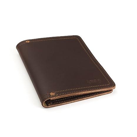 Saddleback pequeño Bloc de notas de piel, cartera portadocumentos de escritura con 100 años de