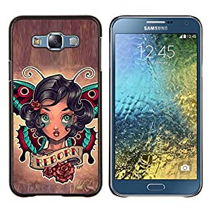 YiPhone /// Prima de resorte delgada de la cubierta del caso de Shell Armor - Renacimiento Cita Chica tinta del tatuaje de la mariposa Arte Corporal - Samsung Galaxy E7 E700