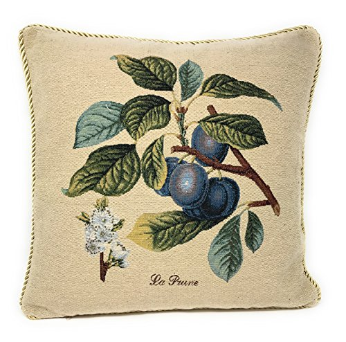 """DaDa Bedding Throw Pillow Cover - Elegant Sugar Plum Visions Fruit 1 Piece Tapestry Cushion Cover - 18"""" x 18"""" from DaDa Bedding Collection"""