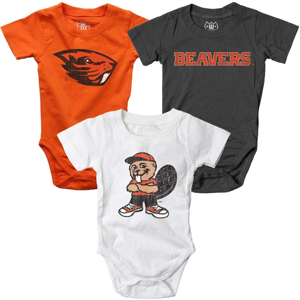 Wes and Willy Infant Oregon State Beavers Bodysuits 3 Pack Organic Cotton Set