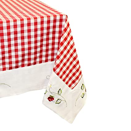 Linen And Bags 55u0026quot; X 79u0026quot; Rectangle Cotton Checkered Tablecloth,  Red And White