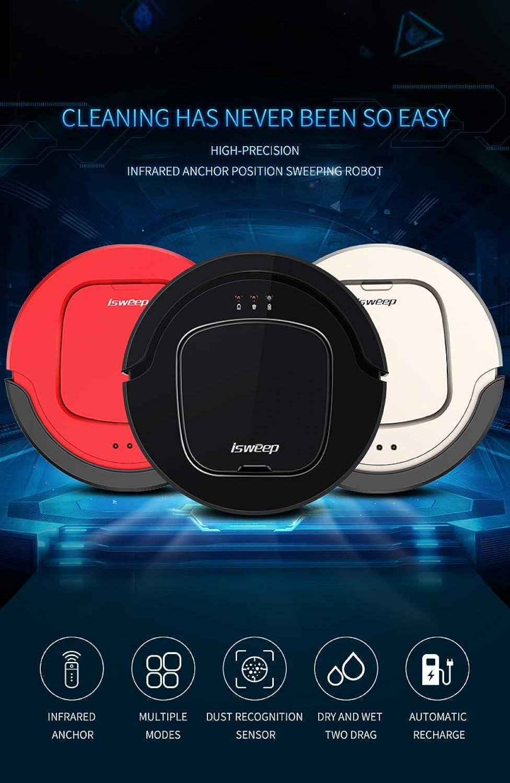 Aspirateur Robot Nettoyeur, 1500Pa Aspirateur Robot Laveur, Robot Aspirateur 3 en 2 et Charge Automatique de Navigation, pour Sols Durs/Tapis à Poils Courts Rouge