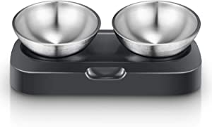Elevated Cat Bowl, Cat and Small Dog Food Bowl Stand, 15° Tilted Raised Cat Food and Water Bowls, 2 Stainless Steel Cat Food Bowls, Non Slip No Spill, Healthy Eating Posture and Ergonomics for Pets