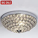 SOTTAE European 2 Lights Bowl Shaped Flush Mount Chrome Finish Mondern Crystal Chandelier Ceiling Light, Crystal Ceiling Light for Bedroom Living Room