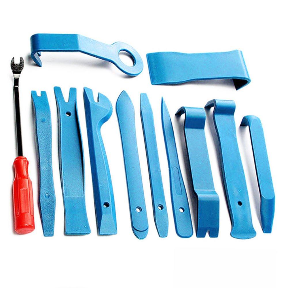 FidgetFidget Removal Pry Tools & 12Pcs Blue Plastic Car Radio Door Clip Panel Trim Dash Audio