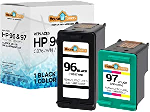 HouseOfToners Remanufactured Ink Cartridge Replacement for HP 96 & 97 (1 Black & 1 Color, 2-Pack)