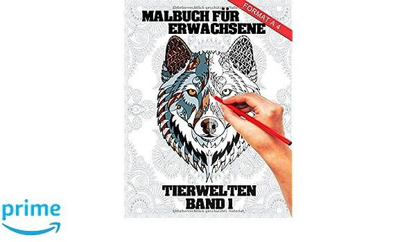 Malbuch Für Erwachsene Tier Welten Band 1 A4 Mandala