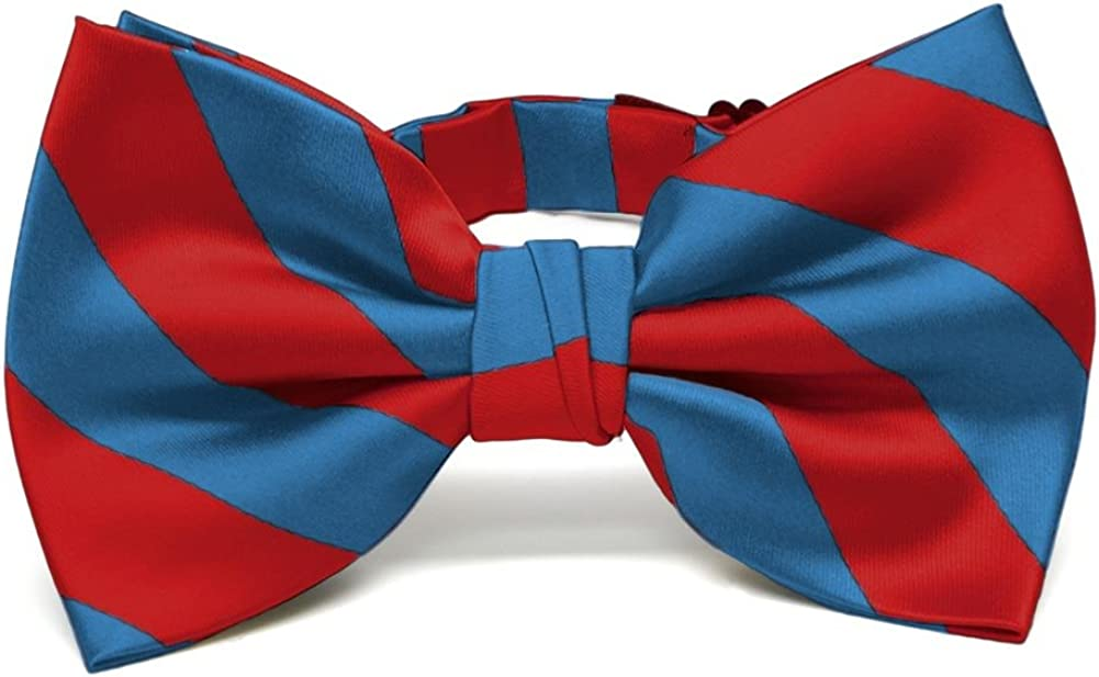 TieMart Red and Blue Striped Bow Tie