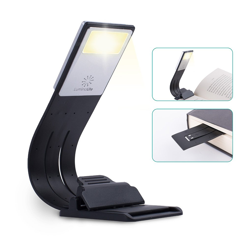 LuminoLite [3000K] Warm LED Bookmark Book Reading in Bed, Adjustable 4-Level Brightness, Soft Light Eyes, Built-in USB Cable Easy Charge. Perfect for Avid Readers