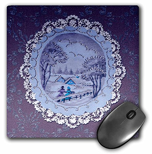- 3dRose Beverly Turner Christmas Design - Couple in Snow Scene, Vintage Postcard Look with Lace, Purple - MousePad (mp_195862_1)