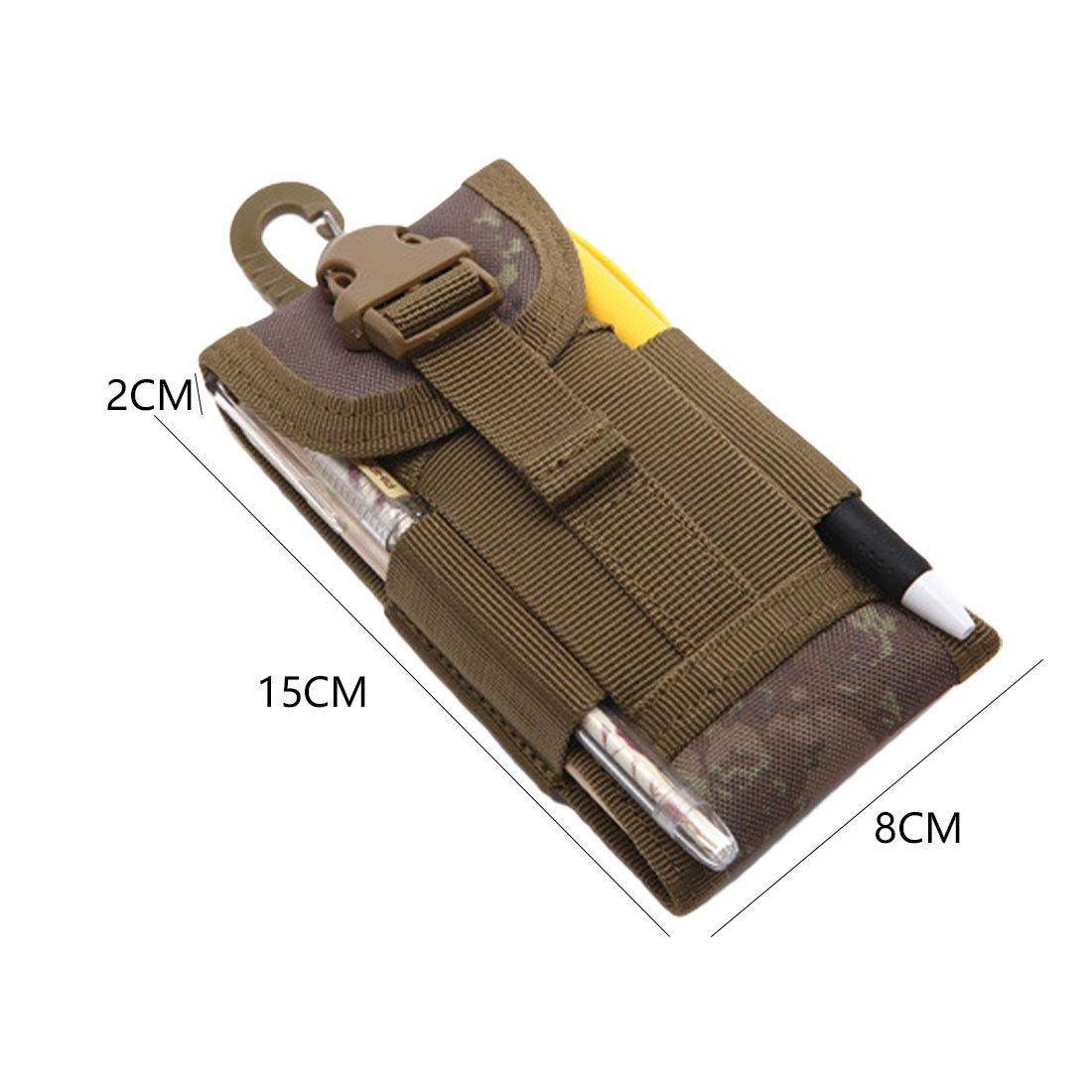 Cintur/ón t/áctico al Aire Libre port/átil Bolso de la Cintura para el tel/éfono m/óvil Funda de la Bolsa de la Cubierta del Gancho Que Lleva Resistente Caqui Resistente