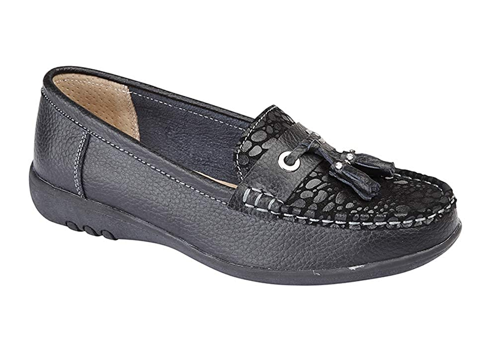 d759b7dacfb Boulevard Womens Leather Extra Wide EEE FIT Slip ON Loafers Shoes Size 3-9  Black  Amazon.co.uk  Shoes   Bags
