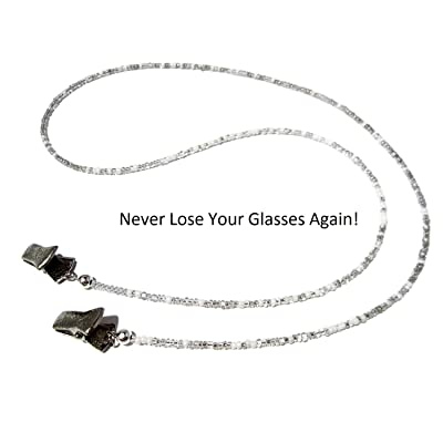 SELECT YOUR SIZE ATLanyards Light Pink Beaded Eyeglass Holder with Silver Clips