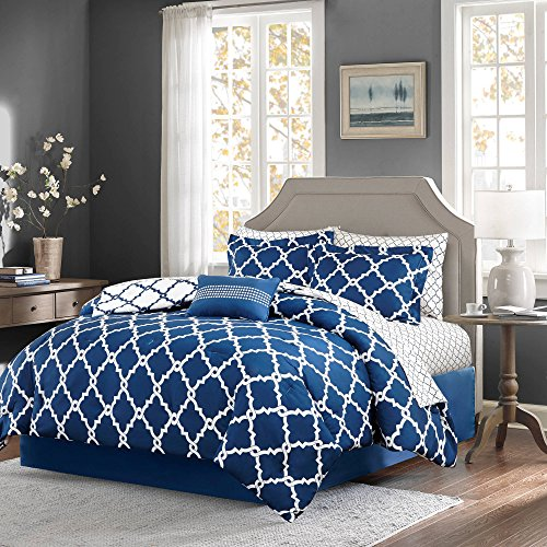Home Essence Becker Reversible Complete Queen-Size Comforter and Cotton Sheet Set, Navy Blue