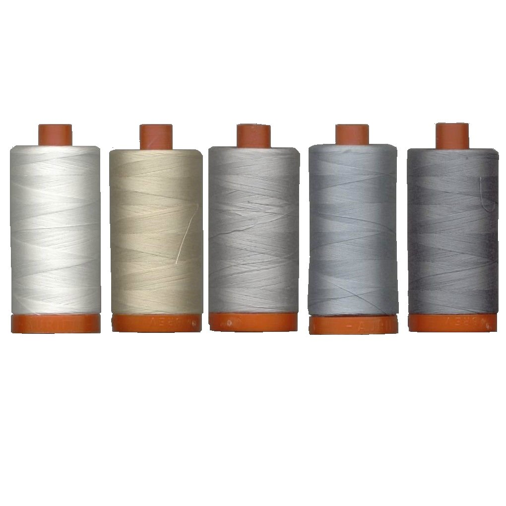 Aurifil Mako' Cotton 50 wt Thread, Quilter's Ideal Set of 5 Essential Piecing Colors, Large 1422 Yard Spools, Bundle of 5 Items by Aurifil