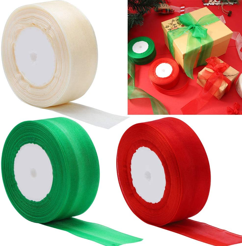 Baring 3 Rolls 150yard Christmas Ribbons Wired, Organza Wired Sheer Ribbon for Gift Wrapping Christmas DIY Crafts Party Decor(Red/Green/Beige)