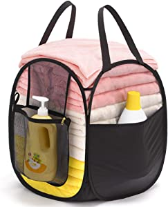 TENRAI Mesh Pop-Up Laundry Hamper with Extra Large Opening & a Side Laundry Bag, Machine Washable,Collapsible Laundry Baskets, Folding & Portable Clothes Hamper for Home and Travel (Black)