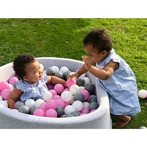 Wonder Space Deluxe Handmade Kids Foam Round Ball Pit| Quality and Durable Premium Drypool with Non-Toxic Safe Materials, Sofe & Thick, Ideal for Little Tots Babies Above 1-year (Light Pink) by Wonder Space (Image #6)