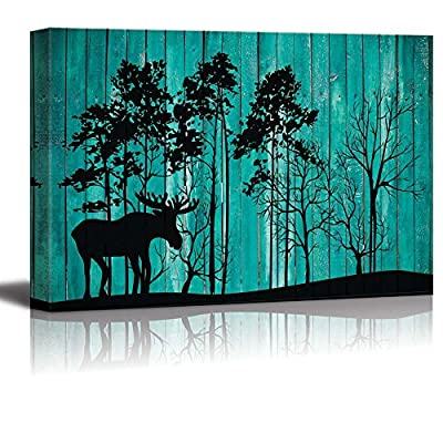Moose In Forest Teal Background - Canvas Art