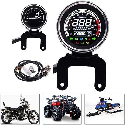 BonTime Universal Motocicleta veloc/ímetro retroiluminaci/ón LCD Digital Colorido tac/ómetro cuentakil/ómetros