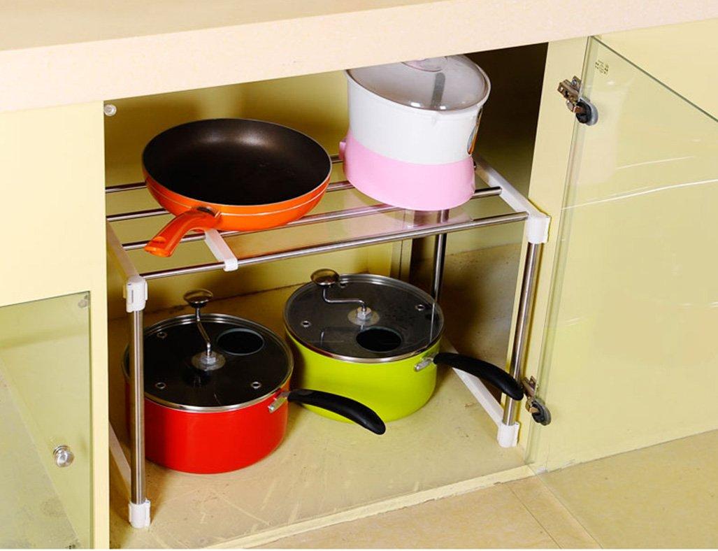 Estantes y soportes para ollas y sartenes HWF Estantes de la Cocina Estante del Horno de microonda de la Capa Doble Estante del Estante del pote del Acero ...