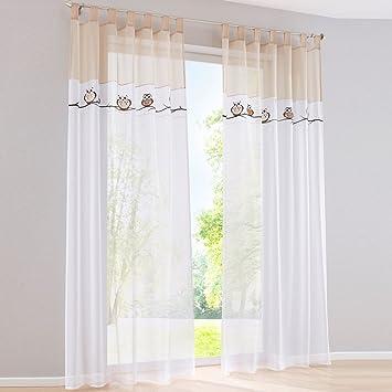 Yujiao Mao Stickerei Eule Druck Voile Vorhange Kinderzimmer Gardine Schal  mit Schlaufen 1 Stück BxH 140x145cm Sand