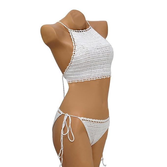 088f95ef25a Women's Vintage Crochet Bikini Set Sexy Halter Padding Triangle Swimsuits  Two Pieces Beachwear Bathing Suit (