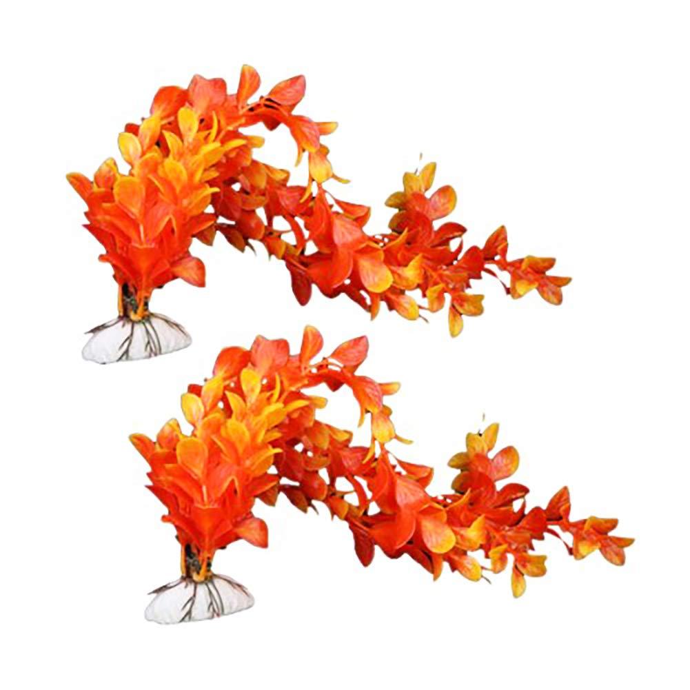 NaiCasy 2pcs Acuario Decoración Sea Flower Plant Simulation jardín Ornamento Paisaje Acuario bajo el Agua decoración pecera - Naranja, pez Mascota: ...
