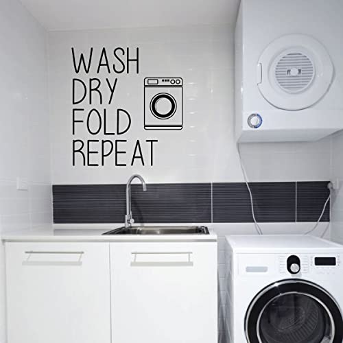 Laundry Room Wall Decal - Wash Dry Fold Repeat - Fun Vinyl Sign Art for  Home Decoration