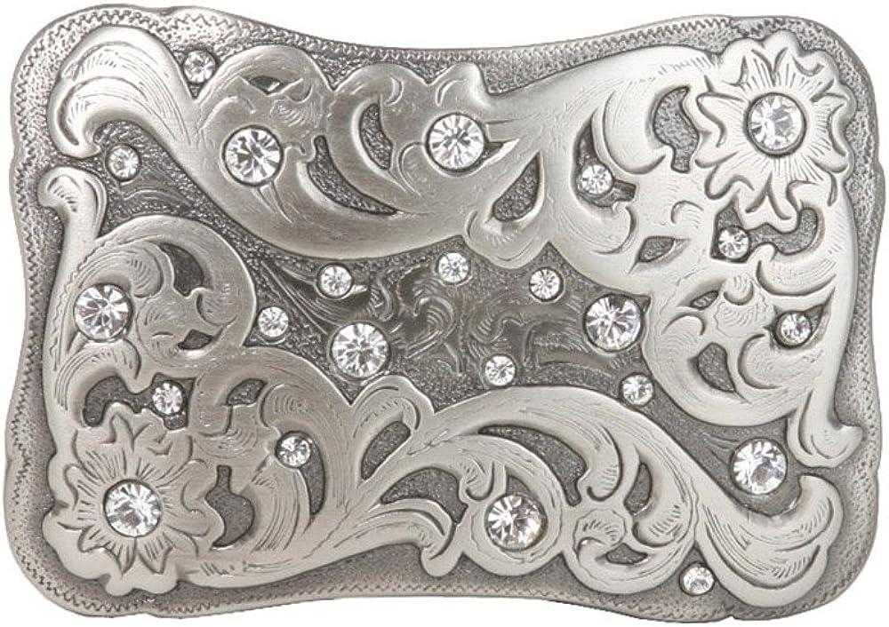 Rectangular Engraving Rhinestone Flower Belt Buckle: Clothing