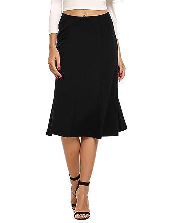 f07315963 Zeagoo Women's Casual Pleated Elastic High Waist Solid Mermaid Pencil Midi  Skirt,Small,Black