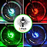 Rechargeable Bike Wheel Hub Lights, Alritz Waterproof 3 Modes LED Cycling Lights, RGB Colorful Bicycle Spoke Lights for Safety Warning and Decoration (for 2 Wheels)