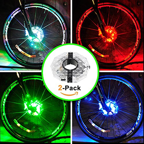 Wheel Accessory Hub Ring - Alritz Rechargeable Bike Wheel Hub Lights, Waterproof 3 Modes LED Cycling Lights, RGB Colorful Bicycle Spoke Lights for Safety Warning and Decoration (for 2 Wheels)
